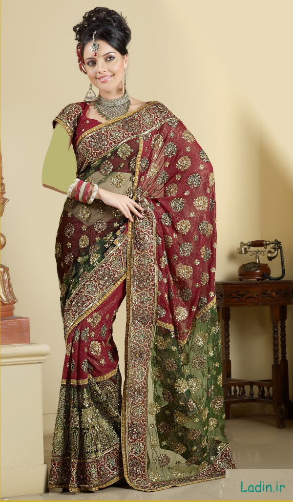 Green-Red-Maroon-Wedding-Saree