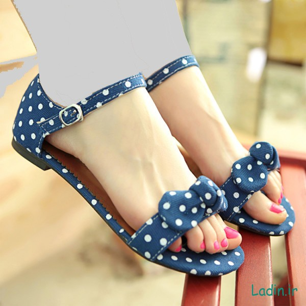 Sweet-Girl-Polka-Dot-Bow-Sandals-Gentlewomen-Brief-Hasp-flat-bottomed-Female-Shoes-New-2015-Summer