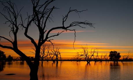 Sunrise over Lake Pinaroo in Sturt National Park, outback Australia